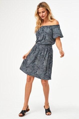 Navy Paisley Shirred Bardot Dress
