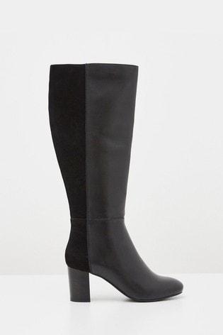 White Stuff Black Harper Heeled Long Boots