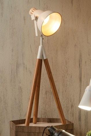 Pacific Larkin Metal Natural Wood Tripod Film Table Lamp