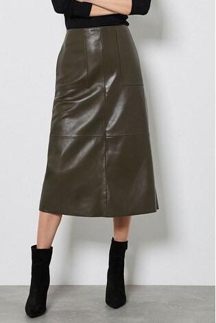 Mint Velvet Khaki Leather Midi Skirt