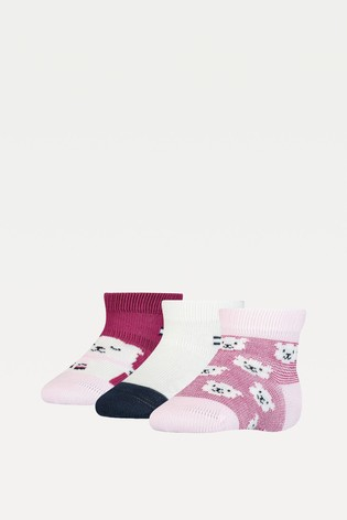 Tommy Hilfiger Pink 3 Pack Bear Baby Sock Gift Pack