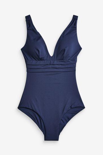 Navy Plunge Shape Enhancing Swimsuit