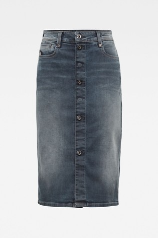 G-Star Noxer Navy Pencil Button Skirt