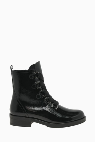 Gabor Halkirk Black Patent Fashion Ankle Boots