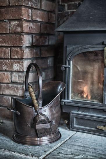Antique Copper Coal Bucket by Ivyline