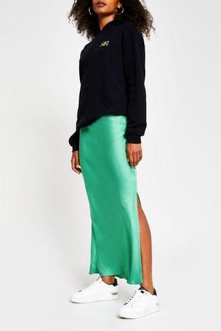 River Island Green Dark Side Spilit Satin Skirt