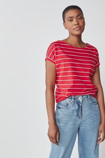 Red Stripe Curved Hem T-Shirt
