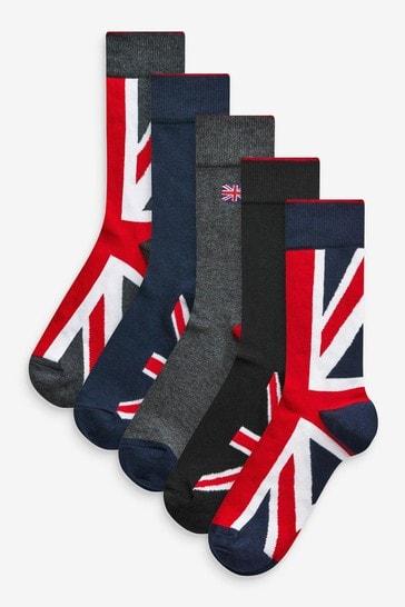 Union Jack Footbed Socks 5 Pack