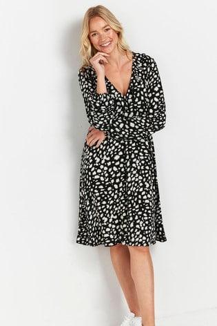 Wallis Mono Textured Ruffle Dress