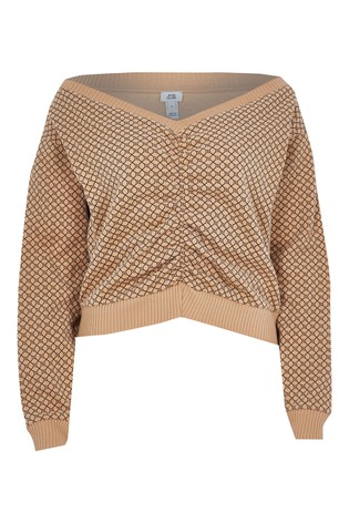 River Island Brown Logo Ruched Front Sweater