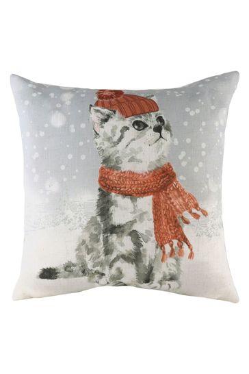 Snowy Cat Linen Blend Cushion by Evans Lichfield