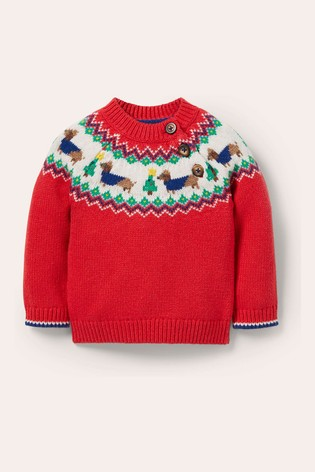 Boden Red FairIsle Knitted Jumper