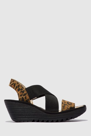 Fly London Open Toe Slingback Wedge Sandals