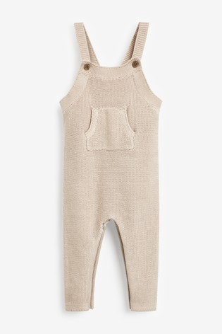 The Little Tailor Fawn Ecru Knitted Baby Dungarees
