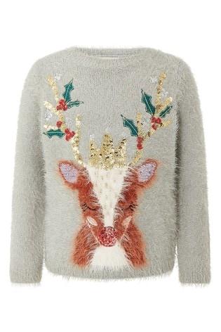 Monsoon Grey Xmas Reindeer Knitted Jumper