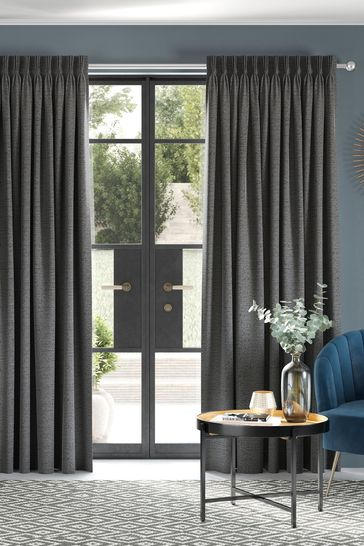 Textured Chenille Charcoal Made To Measure Curtains