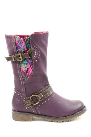 Heavenly Feet Purple Ladies Mid-Calf Boots