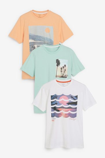 Photographic Mix Graphic T-Shirts 3 Pack