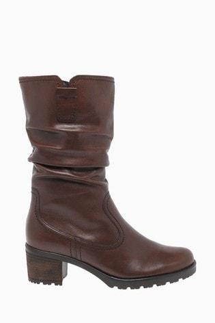 Gabor Dunmow Caramello Leather Calf Length Fashion Boots