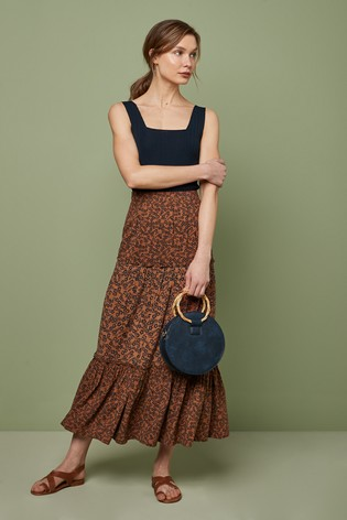 Rust Floral Maxi Tiered Skirt