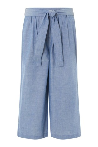 Monsoon Blue Wide Leg Chambray Trousers