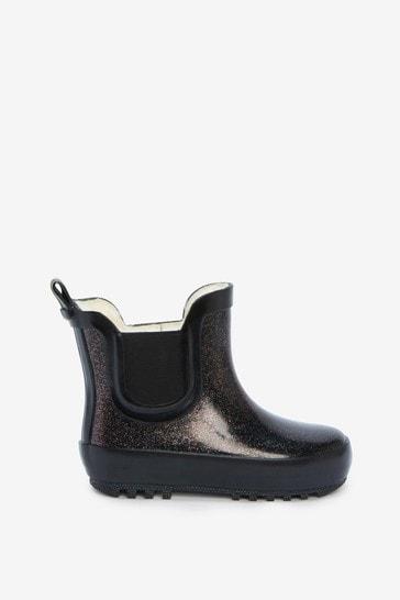Black Glitter Warm Lined Chelsea Boot Wellies