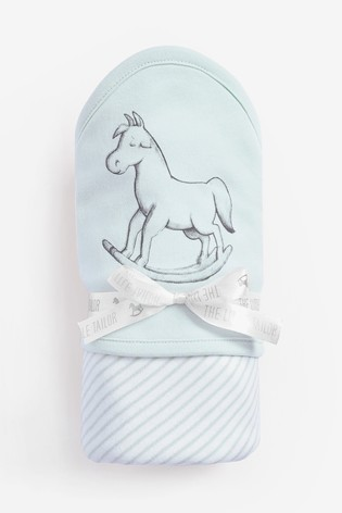 The Little Tailor Blue Rocking Horse Jersey Lined Blanket
