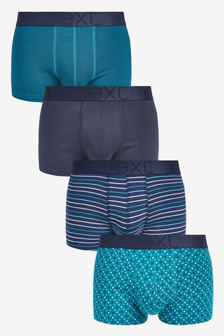 Signature Teal Pattern Bamboo Hipsters Four Pack