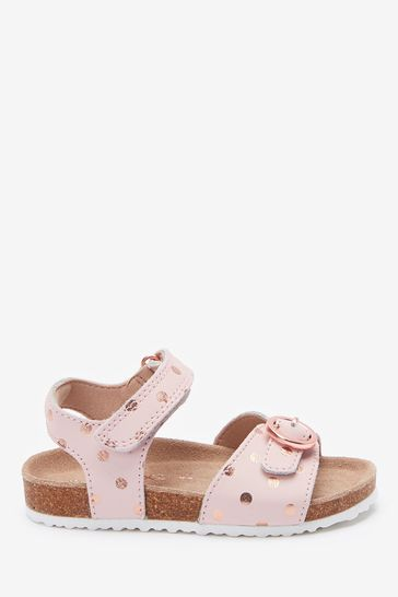 Pink Leather Wide Fit (G) Buckle Sandals