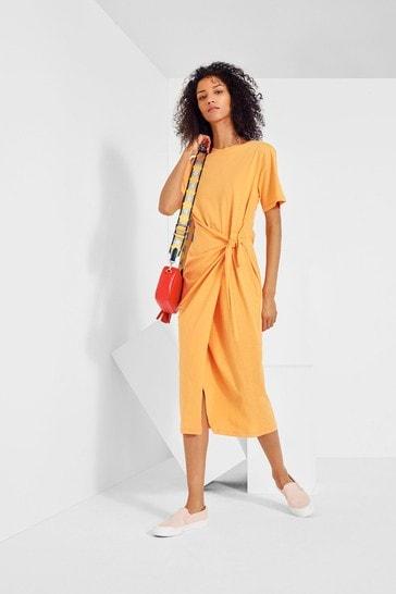 Label Tie Side Jersey Dress