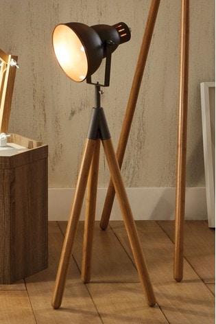 Pacific Grey Larkin Metal Natural Wood Tripod Film Table Lamp