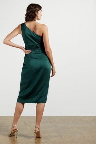 Ted Baker Green Zaaraa One Shoulder Fold Detail Dress