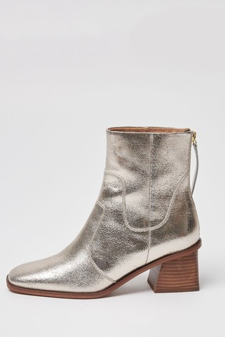 Oliver Bonas Square Toe Golden Metallic Ankle Boots