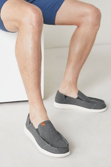 Grey Relaxed Fray Loafers