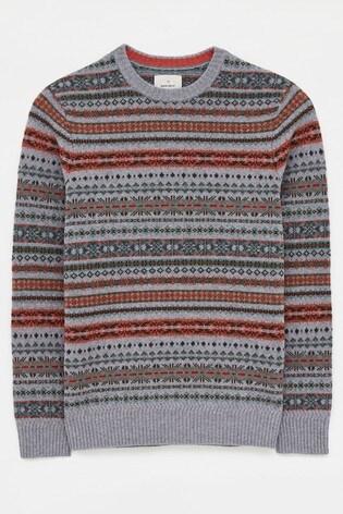 White Stuff Grey Byron Pattern Crew Sweater