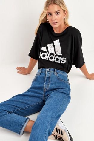 adidas Black Metallic Logo Boxy T-Shirt