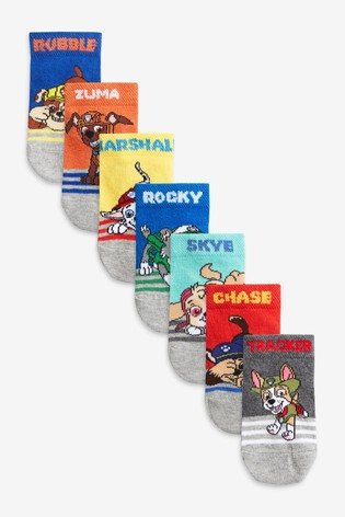Paw Patrol 7 Pack Cotton Rich Trainer Socks