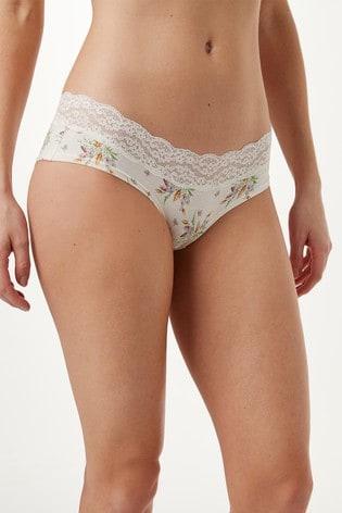 Ochre/Raspberry Stripe Short Lace Trim Cotton Blend Knickers Four Pack