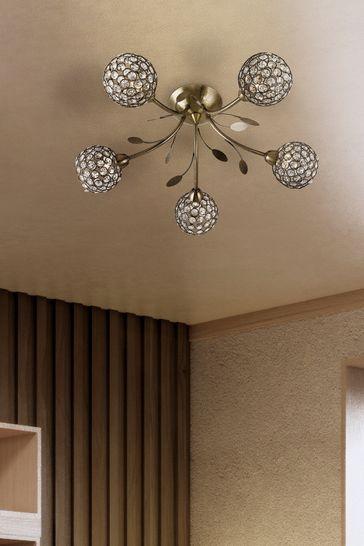 Searchlight Brass Calavera 5 Light Ceiling Light