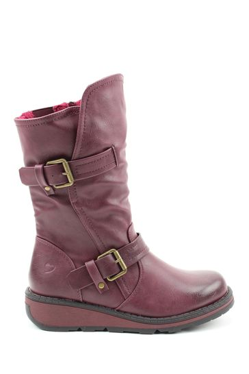 Heavenly Feet Red Ladies Mid Calf Boots
