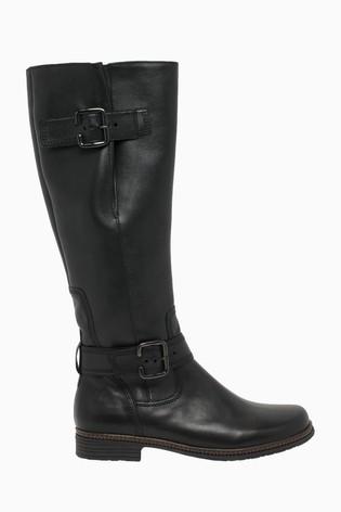 Gabor Nevada Black Leather Knee Length Fashion Boots