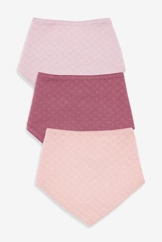Pink/Plum 3 Pack Pointelle Gathered Bibs