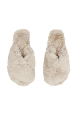 Joules Brown Slumber Faux Fur Sliders