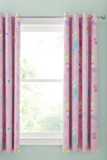 Catherine Lansfield Pink Let's Be Mermaids Blackout Eyelet Curtains