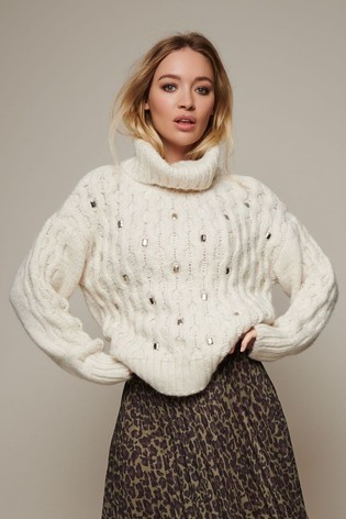 Sonder Studio Cream Embellished Jumper