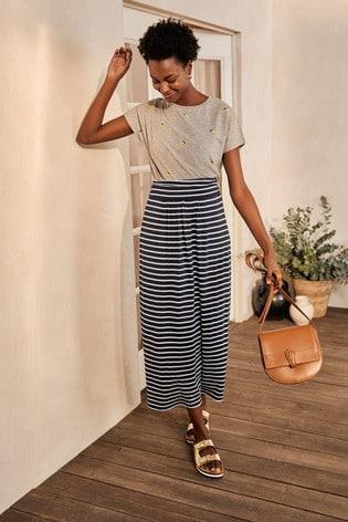Boden Blue Ruched Waist Skirt
