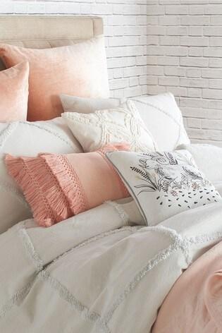 Set of 2 Peri Home Chenille Trimmed Lattice Pillowcases