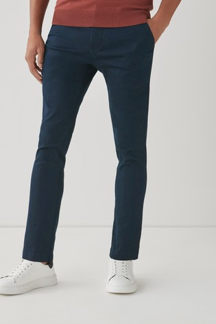 Navy Blue Skinny Fit Motion Flex Soft Touch Chino Trousers