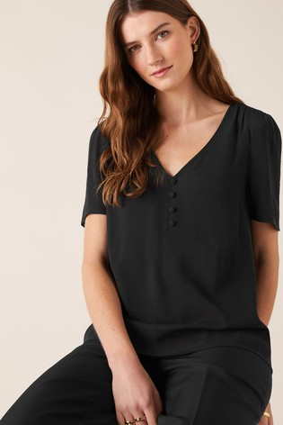 Monsoon Button Front V-Neck Top