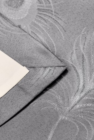 Curtina Grey Feather Jacquard Lined Eyelet Curtains